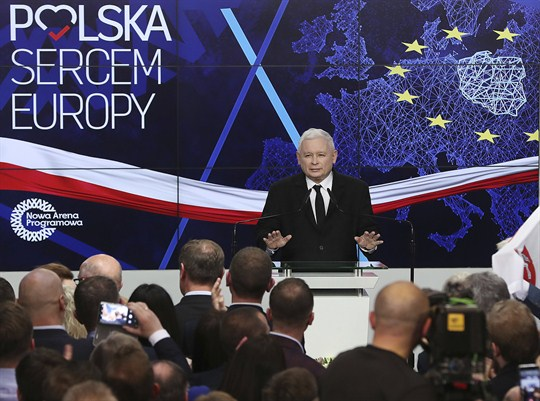 Jaroslaw Kaczynski addresses party members in Warsaw, after Polish elections for European Parliament.