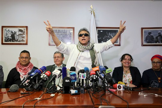 FARC leader Jesus Santrich at a press conference at FARC party headquarters in Bogota, Colombia.