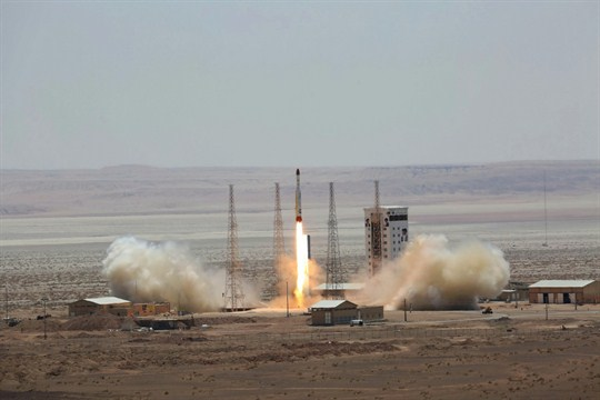 A picture released by the Iranian government claiming to show the launch of a Simorgh rocket