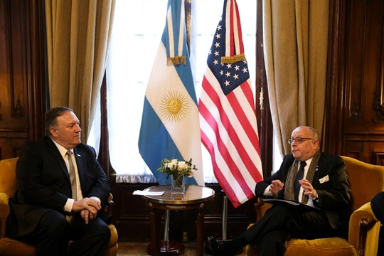 U.S. Secretary of State Mike Pompeo and Argentine Foreign Minister Jorge Faurie during a meeting.