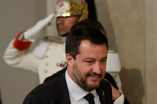 Matteo Salvini leaves after meeting with Italian President Sergio Mattarella.