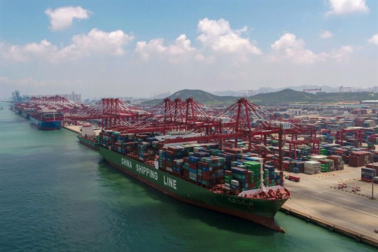 A container ship docked at a port in Qingdao, in eastern China's Shandong province.