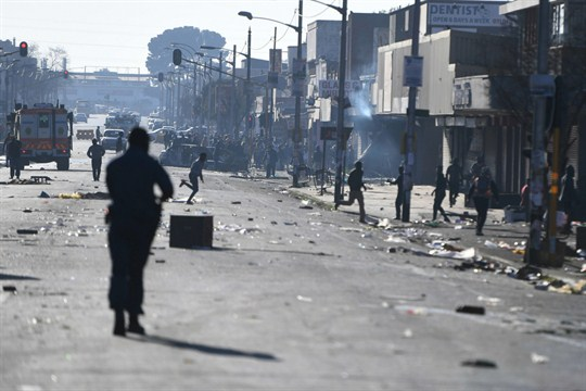 A street on the outskirts of Johannesburg after xenophobic riots targeted foreign-owned shops and businesses.