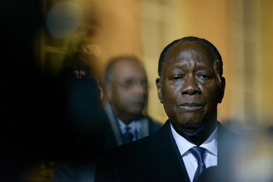 Alassane Ouattara following his meeting with French President Emmanuel Macron, in Paris