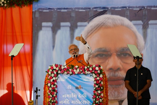 Prime Minister Narendra Modi speaks at a festival at Kevadiya, in Gujarat, India