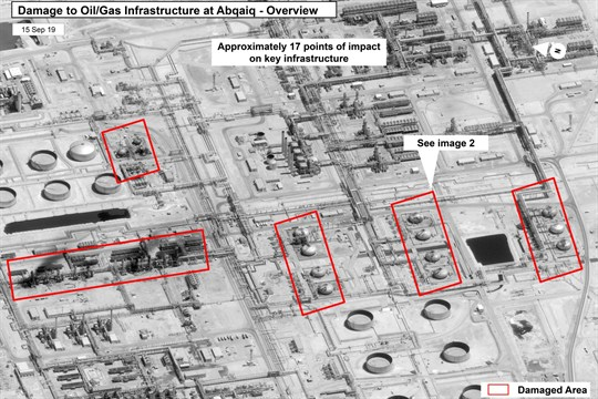 An image provided by the U.S. government shows the damage to Saudi Aramco's Abqaiq oil facility.