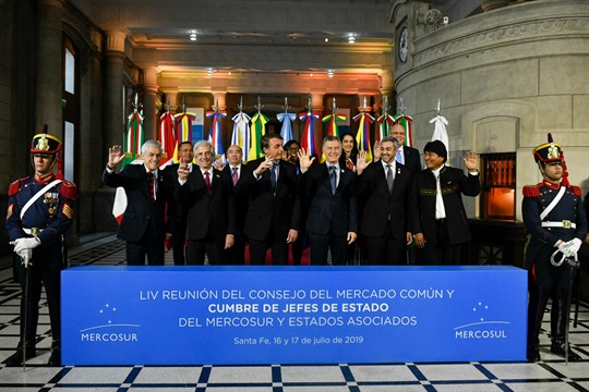 Latin American leaders at the Mercosur Summit in Santa Fe, Argentina, July 17, 2019