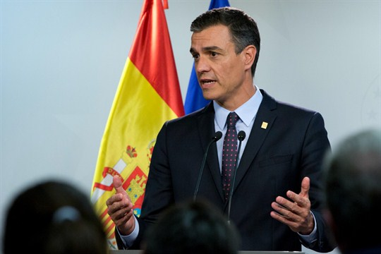 Spanish Prime Minister Pedro Sanchez at a press conference during an EU summit in Brussels.