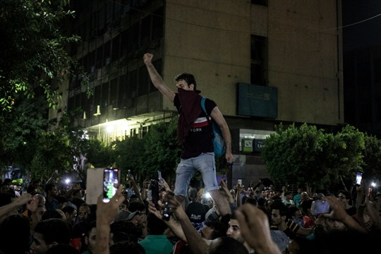 Protesters chanting during a rare protests in September against President Sisi in downtown Cairo, Egypt.
