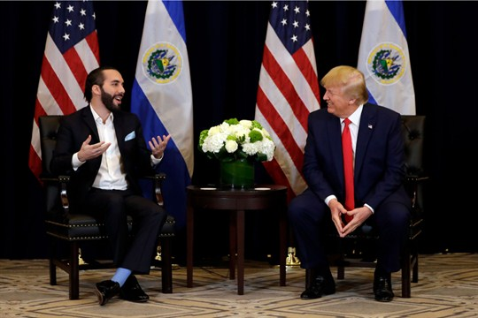 President Donald Trump meets with President Nayib Bukele on the sidelines of the U.N. General Assembly.
