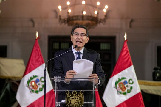 Peruvian President Martin Vizcarra announcing the dissolution of Congress from the government palace in Lima.