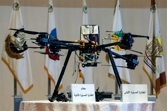 An Israeli drone that crashed in southern Beirut on display at the Lebanese Defense Ministry.
