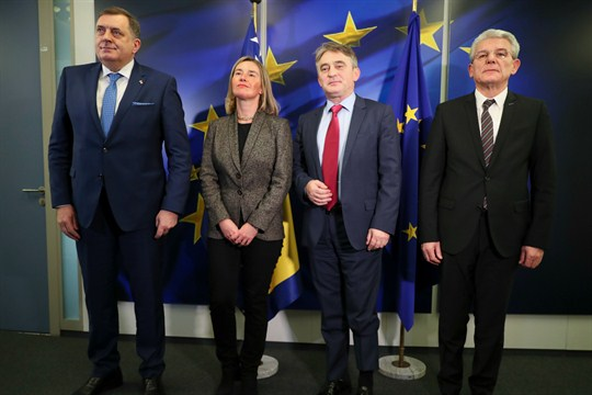 The members of Bosnia's tripartite presidency with EU foreign policy chief Federica Mogherini in Brussels