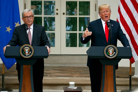 President Donald Trump and European Commission President Jean-Claude Juncker at the White House