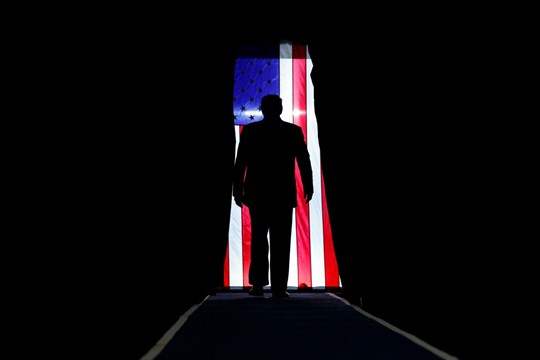 President Donald Trump arrives to speak at a campaign rally in Lake Charles, Louisiana.