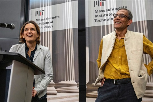 Esther Duflo and Abhijit Banerjee, two of this year's winners of the Nobel Prize in economics.