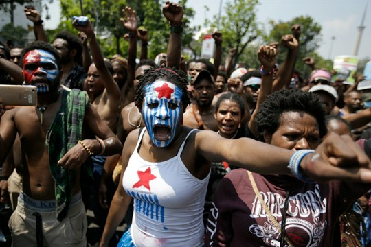 A Papuan activist during a rally near the presidential palace in Jakarta, Indonesia.
