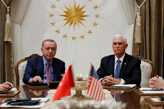 Vice President Mike Pence and Turkish President Recep Tayyip Erdogan at the Presidential Palace in Ankara.