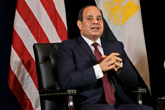 Egyptian President Abdel Fattah el-Sisi speaks during a meeting with President Trump.