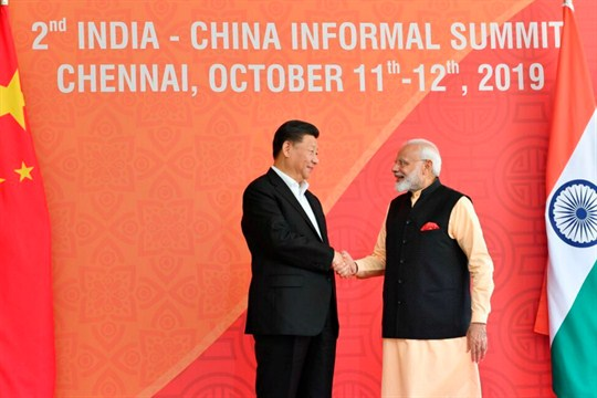 Chinese President Xi Jinping meets with Indian Prime Minister Narendra Modi in Mamallapuram, India.