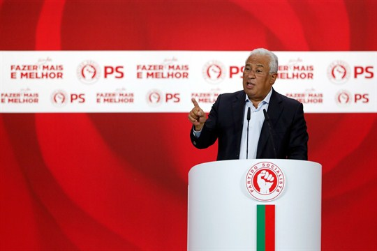 Portuguese Prime Minister and Socialist Party leader Antonio Costa delivers a speech during a campaign rally.