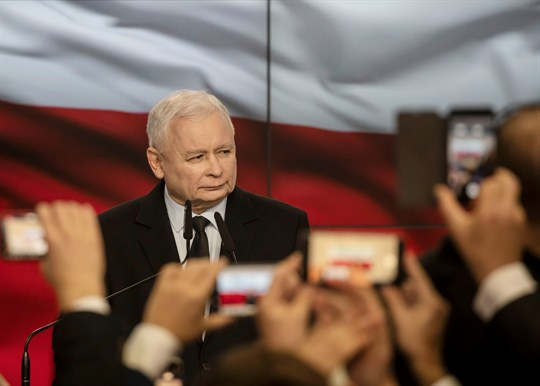 Jaroslaw Kaczynski, the leader of Poland's Law and Justice party, on election day in Warsaw