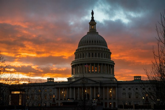 The Capitol building at sunset in Washington