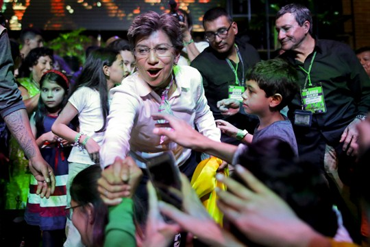 Claudia Lopez celebrates her victory in Bogota's mayoral election.