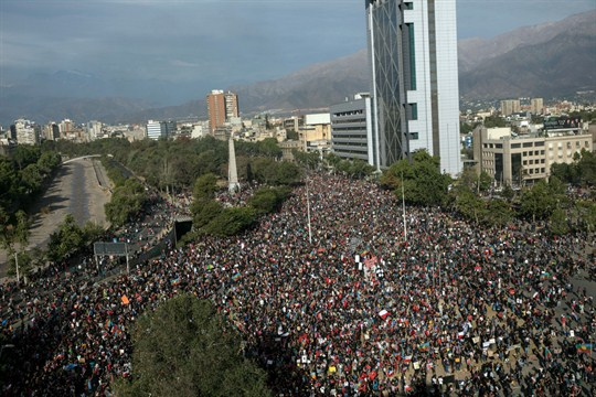 An anti-government protest in Santiago, Chile.