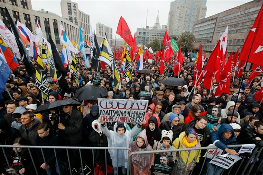 Russian protesters at a rally to support political prisoners in Moscow.