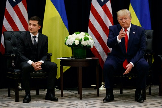 U.S. President Donald Trump meeting with Ukrainian President Volodymyr Zelensky at the UN General Assembly.