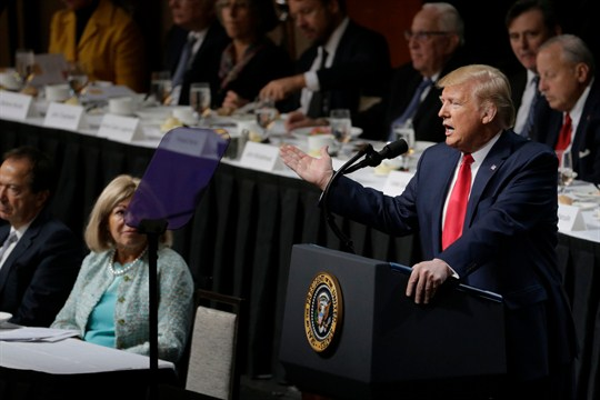 President Donald Trump speaks during a meeting of the Economic Club of New York