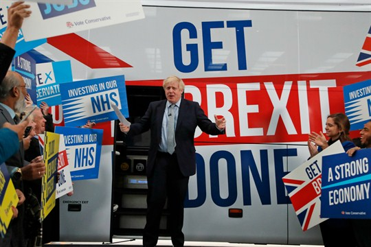 British Prime Minister Boris Johnson during a general election campaign stop in Manchester.