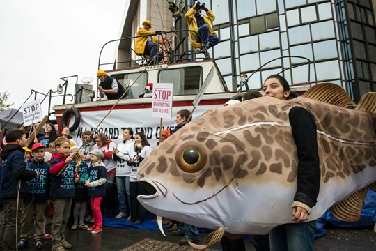 A World Wildlife Fund protest against overfishing in Brussels.