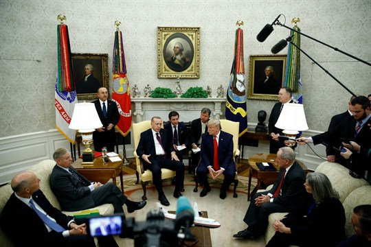 Donald Trump, Turkey's Recep Tayyip Erdogan and Republican senators at a meeting in the Oval Office.