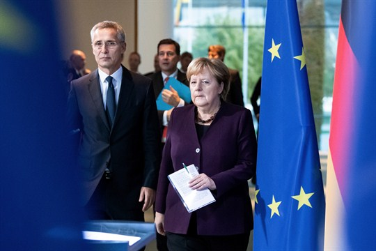 German Chancellor Angela Merkel and NATO Secretary General Jens Stoltenberg at a press conference, Berlin