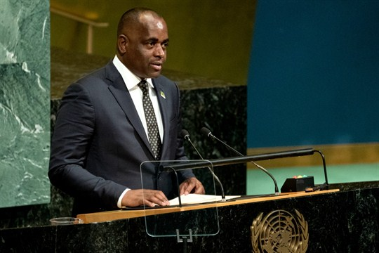 Dominica's prime minister, Roosevelt Skerrit, addresses the United Nations General Assembly in New York.