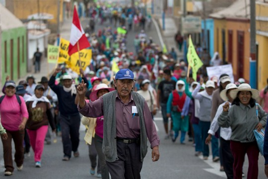 Farmers opposed to the Tia Maria open-pit copper mine march in protest in Cocachacra, Peru.
