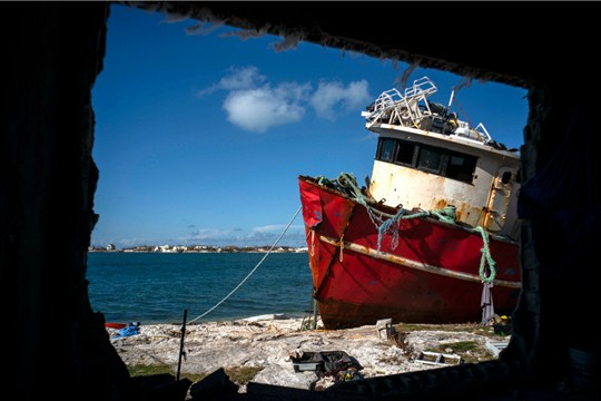 A ship that ran aground during Hurricane Dorian in Abaco, Bahamas.