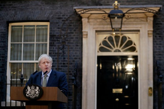 Prime Minister Boris Johnson outside 10 Downing Street in London after his Conservative Party won elections.