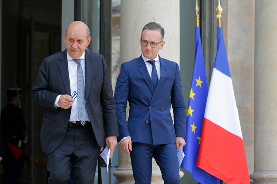 French Foreign Minister Jean-Yves Le Drian, left, and his German counterpart, Heiko Maas, in Paris.