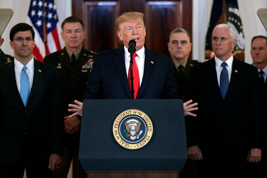 Trump addresses the nation from the White House on Iran's retaliatory missile strike