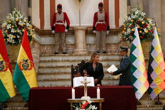 Bolivia's interim president, Jeanine Anez, arrives to the presidential palace