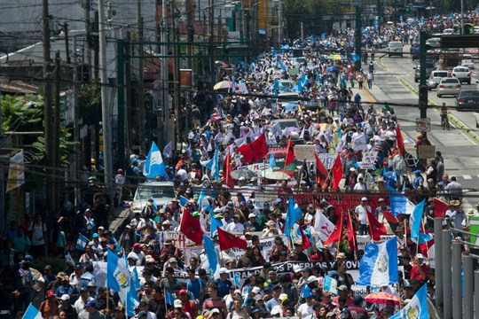 A protest in Guatemala City against President Jimmy Morales shutting down the CICIG anti-corruption commission.