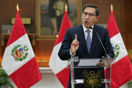 Peruvian President Martin Vizcarra speaks at the Government Palace in Lima, Peru.