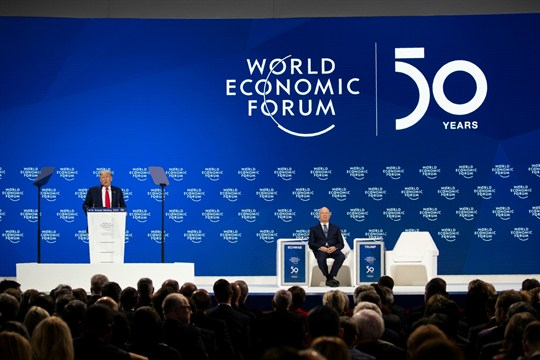 President Donald Trump delivers opening remarks at the World Economic Forum in Davos, Switzerland.