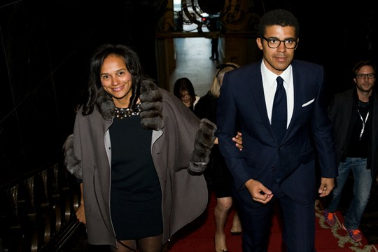 Isabel dos Santos and her husband, Sindika Dokolo, arrive for a ceremony in Porto, Portugal.