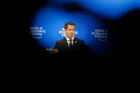 Venezuelan opposition leader Juan Guaido addresses the World Economic Forum in Davos, Switzerland.