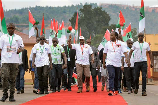 Burundi's president, Pierre Nkurunziza, arrives at the national conference for the ruling CNDD-FDD party