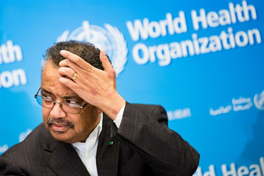 Tedros Adhanom Ghebreyesus, director general of the World Health Organization, talks to reporters at WHO headquarters